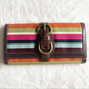 COACH Vintage Legacy Stripe Multi Color Wallet NWT